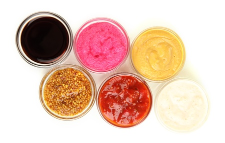 various sauces isolated on white Stock Photo