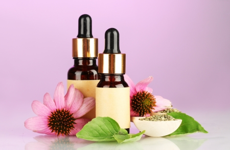 bottles with essence oil and purple echinacea, on pink background Stock Photo - 15369120