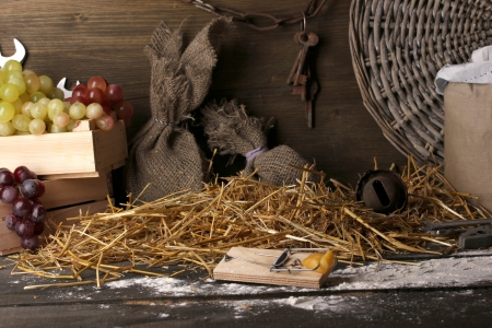Mousetrap with a piece of cheese in barn on wooden background Stock Photo - 15369610