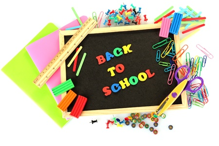 Small chalkboard with school supplies on white background. Back to School Stock Photo - 15369263
