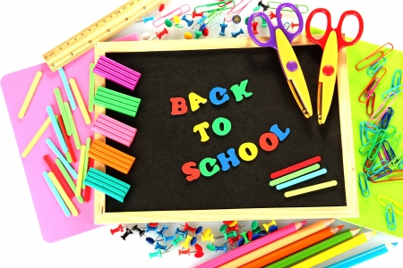 Small chalkboard with school supplies on white background. Back to School Stock Photo - 15410268