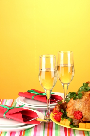 banquet table with roast chicken on orange background close-up. Thanksgiving Day Stock Photo - 15390413