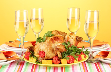 banquet table with roast chicken on orange background close-up. Thanksgiving Day Stock Photo - 15391078