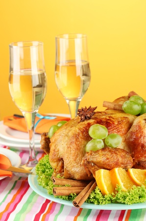 banquet table with roast chicken on orange background close-up. Thanksgiving Day Stock Photo - 15390968