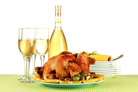 table setting for Thanksgiving day on white background close-up Stock Photo - 15388996