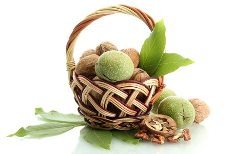 walnuts with green leaves in basket, isolated on white Stock Photo - 15389000