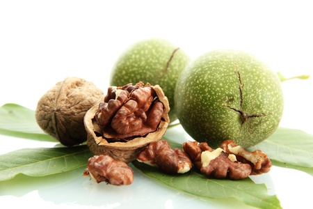 walnuts with green leaves isolated on white Stock Photo - 15390182