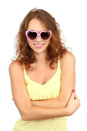 Smiling beautiful girl in glasses isolated on white photo