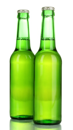 two bottles of beer isolated on white photo