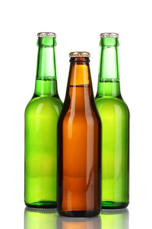 three bottles of beer isolated on white photo