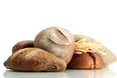 bakery oven: tasty rye breads with ears, isolated on white