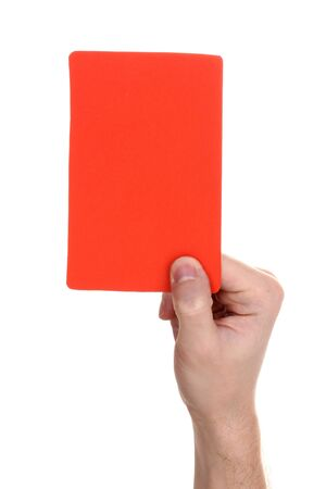 hand holding red card isolated on white Stock Photo