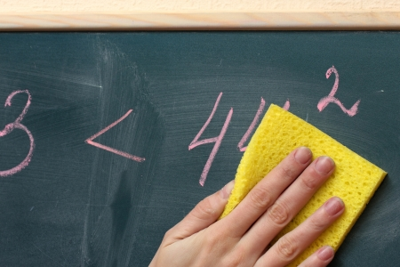 Hand writing mathematical test on the blackboard Stock Photo - 15395936