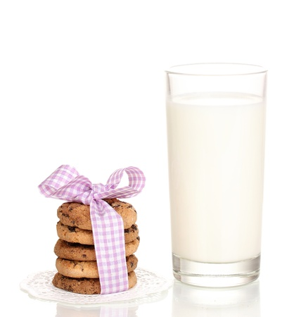 milk and cookies: Glass of milk and cookies isolated on white