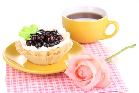sweet cake with cup of tea isolated on white Stock Photo - 15416778