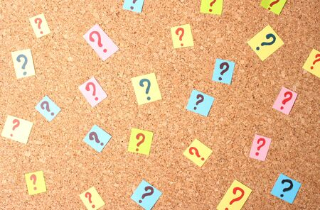 Many question marks on cork board Stock Photo - 15419972