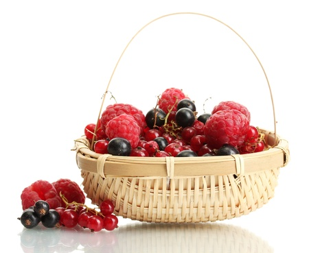 ripe berries in basket isolated on white  Stock Photo - 15416407