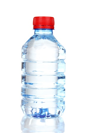 mineral water: plastic bottle of water isolated on white