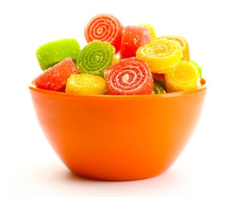 colorful jelly candies in bowl isolated on white