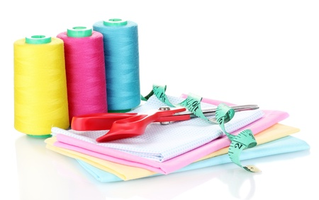 cuttings: Sewing accessories and fabric isolated on white Stock Photo