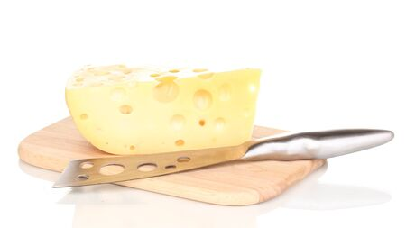 tasty cheese and knife on wooden board isolated on white Stock Photo - 15420371