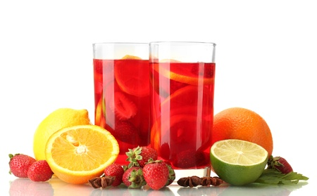 sangria in glasses with fruits, isolated on white photo