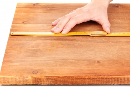 mesure: measuring wooden board close-up
