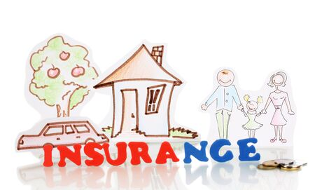 tree service pictures: concept of home insurance isolated on white Stock Photo