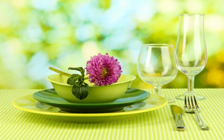 Table setting on bright background close-up Stock Photo