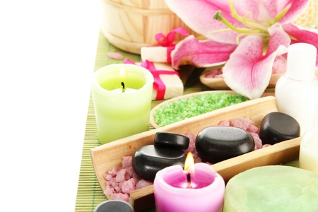 beautiful spa setting with lily isolated on white Stock Photo - 15417396
