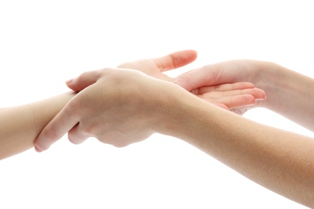 Hand massage, isolated on white photo