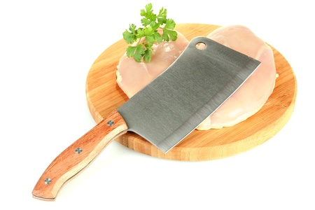 chicken with a meat hatchet isolated on white photo