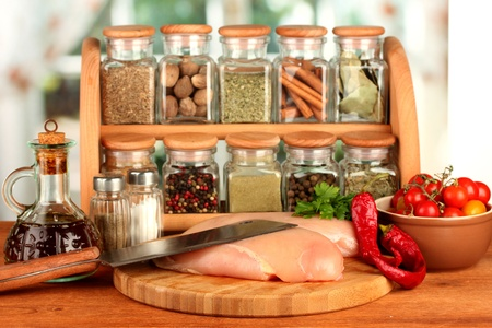 composition of raw meat, vegetables and spices on wooden table close-up Stock Photo - 15420101