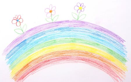Childrens drawing of rainbow Stock fotó