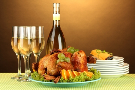 table setting for Thanksgiving day on brown background close-up photo