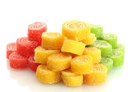 sweet jelly candies isolated on white  photo
