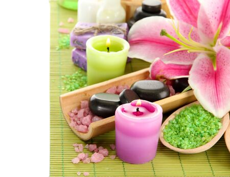 beautiful spa setting with lily isolated on white Stock Photo - 15473898