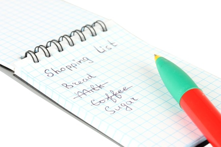 shopping list in a notebook on white background close-up Stock Photo - 15457434
