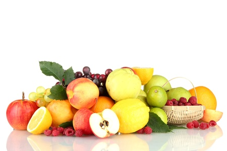 Assortment of exotic fruits and berries, isolated on white photo