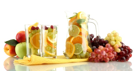 transparent jar and glasses with citrus fruits, isolated on white Stock Photo - 15457411