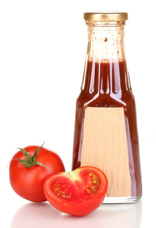 distinctive flavor: Tomato sauce in bottle isolated on white