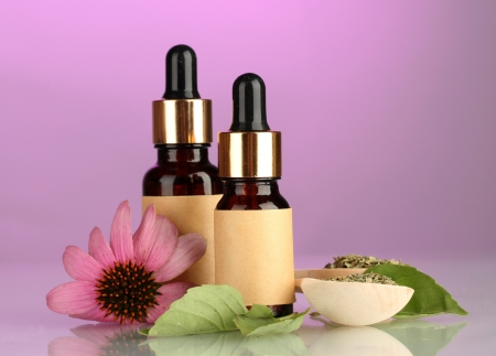 bottles with essence oil and purple echinacea, on pink background Stock Photo - 15563291