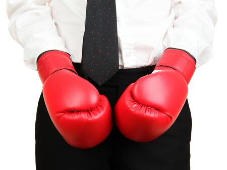 businessman in boxing gloves isolated on white photo