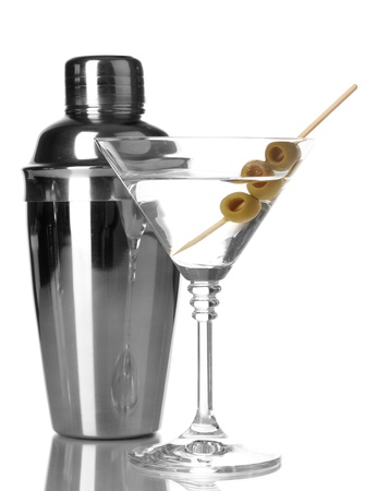 martini shaker: Martini glass with olives and shaker isolated on white