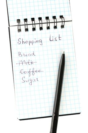 shopping list in a notebook on white background close-up Stock Photo - 15546206