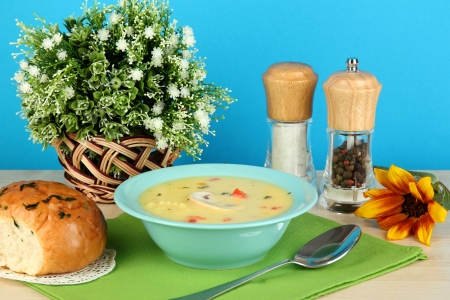 Fragrant soup in blue plate on table on blue background close-up Stock Photo - 15562565