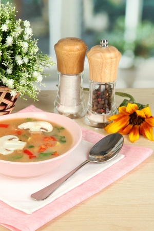 Fragrant soup in pink plate on table on window background close-up Stock Photo - 15545805