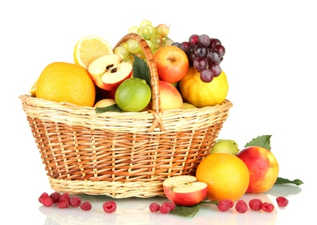 fruits basket: Assortment of exotic fruits in basket, isolated on white