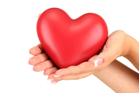 Red heart in womans hands, on white background close-up