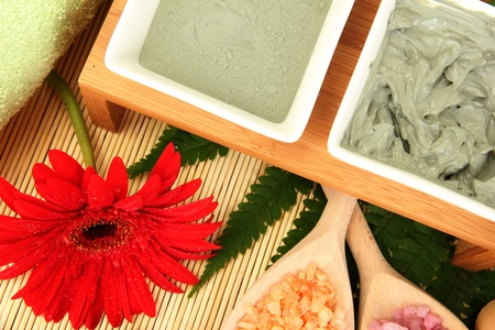 cosmetic clay for spa treatments on straw background close-up Stock Photo - 15581265